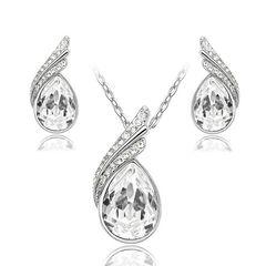 Schmuck Set Halskette Ohrringe Zirkonia Kristall Tropfen Flügel Silber Strass