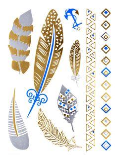 Flash Tattoo Metallic Temporary Einmal-Tattoo Henna Klebe Gold Feder Anker Armband Kette