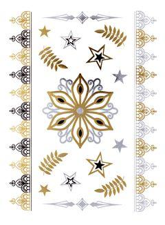 Flash Tattoo Metallic Temporary Einmal Tattoo Klebe Gold Stern Armband Kette Henna