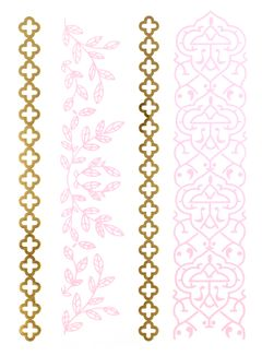 Flash Tattoo Metallic Temporary Einmal Tattoo Henna Klebe Gold Floral Armband Kette rosa