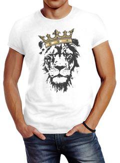 Herren T-Shirt König der Tiere Löwen-Kopf mit Krone Slim Fit Neverless®