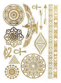 Flash Tattoo Metallic Temporary Einmal Tattoo Klebe Gold Ägyptisch Pfeil Ornamente Armband Kette