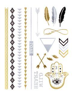 Flash Tattoo Metallic Temporary Einmal Klebe Tattoo Gold Pfeil Feder Love Schrift Armband Kette