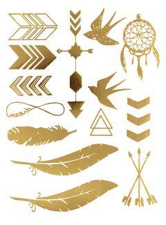 Flash Tattoo Metallic Einmal Tattoo Henna Klebe Gold Pfeil Feder Vogel Traumfänger Infinity Dream