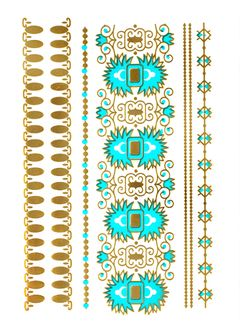Flash Tattoo Metallic Temporary Einmal Tattoo Henna Klebe Gold Orientalisch Armband Kette
