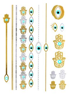 Flash Tattoo Metallic Temporary Einmal Tattoo Henna Klebe Gold Fatimas Hand Auge Armband Kette