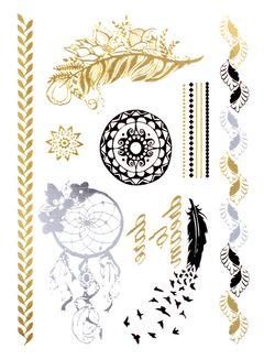 Flash Tattoo Metallic Temporary Einmal Tattoo Klebe Gold Feder Vogel Armband Kette Traumfänger Schrift Blatt