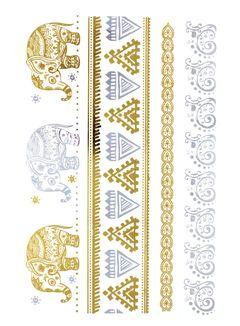 Flash Tattoo Metallic Temporary Einmal Tattoo Klebe Gold Elefant Ornamente Floral Armband Kette Henna