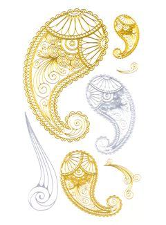Flash Tattoo Metallic Temporary Einmal Tattoo Klebe Gold Silber Flügel Ornamente Henna