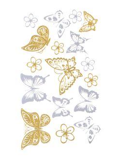 Flash Tattoo Metallic Temporary Einmal Tattoo Klebe Gold Schmetterling Butterfly Blume Blüte Henna