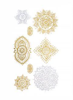 Flash Tattoo Metallic Temporary Einmal Tattoo Klebe Gold Ornamente Blume Orientalisch Henna