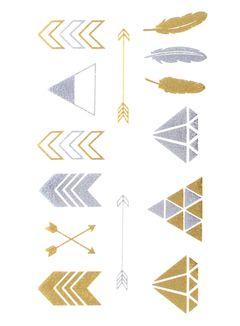 Flash Tattoo Metallic Temporary Einmal Tattoo Klebe Gold Diamant Pfeil Feder Boho Stil Henna