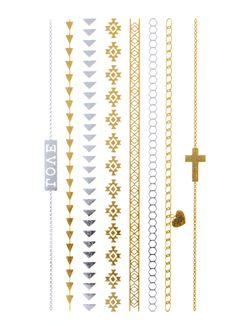 Flash Tattoo Metallic Temporary Einmal Tattoo Klebe Gold Kreuz Herz Love Kette Armband Henna