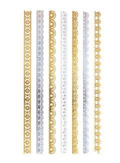 Flash Tattoo Metallic Temporary Einmal-Tattoo Henna Klebe Gold Ornamente Kette Armband