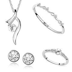 Damen Schmuck Set Halskette Ohrstecker Ring Armband Zirkonia weißgold plattiert