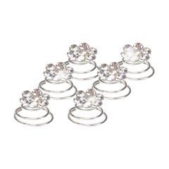 Haar Curlies Blumen Kristall Strass Haarspiralen Haarcurlies Hochzeit Braut Haarschmuck versilbert