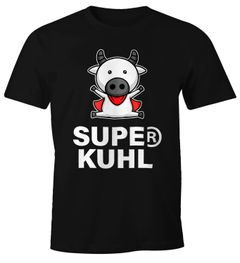 Lustiges Herren T-Shirt Tier-Motiv Super Kuhl Kuh Fun-Shirt Moonworks®