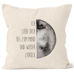 Kissenbezug Geschenk Ich liebe dich bis zum Mond und wieder zurück Liebe Spruch Love Quote MoonWorks® 40x40 Baumwolle