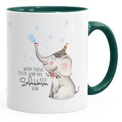 KaffeeTasse Elefant Warum Trübsal blasen wenn man auch seifenblasen kann Spruch Motivation positives Denken fröhlich MoonWorks®