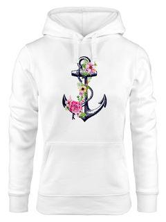 Damen Hoodie Anker Blumen Flower Anchor Watercolor Kapuzen-Pullover Kapuzenpullover Kapuzenpulli Neverless®