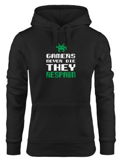 Kapuzen-Pullover Gamers never die they respawn Spruch Pixel Zocker 90er 80er Retro Hoodie Moonworks®