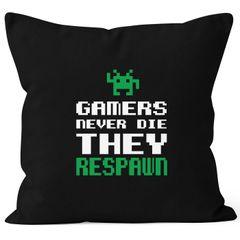 Kissenbezug Kissenhülle Gamers never die they respawn Spruch Pixel Zocker 90er 80er Retro MoonWorks® 40x40