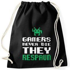 Turnbeutel Gamers never die they respawn Spruch Pixel Zocker 90er 80er Retro Gymbag Moonworks®