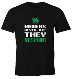 Herren T-Shirt Gamers never die they respawn Spruch Pixel Zocker 90er 80er Retro Fun-Shirt Moonworks®