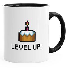 Geschenktasse Tasse Geburtstag Level Up Pixel-Torte Retro Gamer Pixelgrafik Arcade MoonWorks®