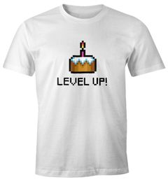 Herren T-Shirt Geburtstag Level Up Pixel-Torte Retro Gamer Pixelgrafik Geschenk Arcade Fun-Shirt Moonworks®
