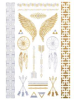Flash Tattoo Metallic Temporary Einmal Klebe Tattoo Gold Traumfänger Pfeil Engelsflügel Dreamcatcher Armband Kette