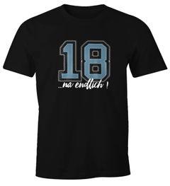 Herren T-Shirt Geburtstag endlich 18 College Look Fun-Shirt Geschenk Moonworks®