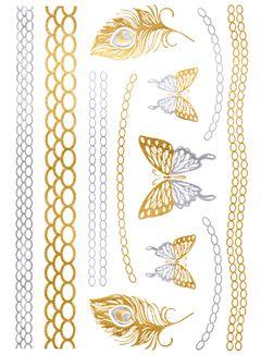Flash Tattoo Metallic Temporary Einmal Klebe Tattoo Gold Schmetterling Feder Armband Kette