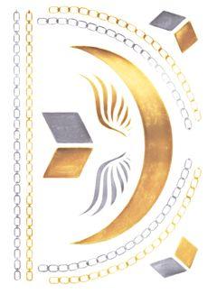 Flash Tattoo Metallic Temporary Einmal Klebe Tattoo Gold Engelsflügel Halskette Collier Armband Kette