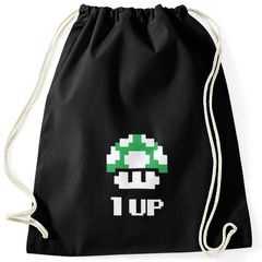 Turnbeutel Geburtstag Retro Pixel-Pilz 1-Up-Pilz Level-Up Gaming Konsole 90er Moonworks®