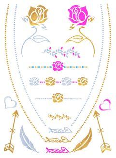 Flash Tattoo Metallic Temporary Einmal Klebe Tattoo Gold Rosen Pfeile Herzen Halskette Armband Kette