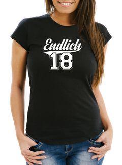 Damen T-Shirt Geburtstag Geschenk Endlich 18 College Stil Volljährig erwachsen Slim Fit Moonworks®