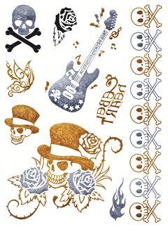 Flash Tattoo Metallic Temporary Einmal Klebe Tattoo Gold Totenkopf Rosen Gitarre Skull Armband Kette