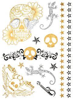 Flash Tattoo Metallic Temporary Einmal Klebe Tattoo Gold Totenkopf Rosen Sterne Biker Eidechse Gitarre Skull Armband Kette