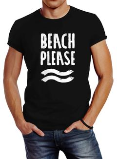 Sommer Herren T-Shirt Beach please Slim Fit Neverless®
