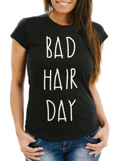 Damen T-Shirt Bad Hair Day Print Slim Fit Moonworks®