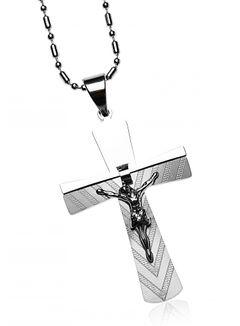 Halskette Herren Edelstahl Kette Kugelkette Anhänger Kreuz Jesus Massiv