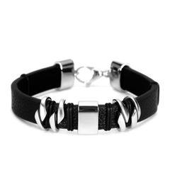Leder-Armband Rindsleder schwarz Edelstahl Herren Damen Autiga®