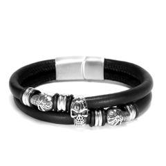 Echtleder-Armband Totenkopf Skull Rindsleder schwarz Edelstahl Herren Damen Autiga®