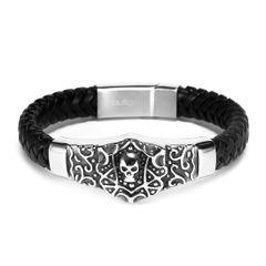 Echtleder-Armband Totenkopf Skull Tribal Rindsleder geflochten schwarz Edelstahl Herren Damen Autiga®
