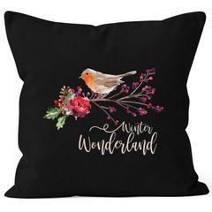 Kissenbezug Weihnachten Winterwonderland Vogel Rotkehlchen Blumen Misteln Christmas Bird Autiga®