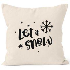 Kissenbezug Let it snow Winter Weihnachten Spruch Schnee Eiskirstalle Schneeflocken Kissenhülle Dekokissen Baumwolle Autiga®