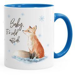 Tasse Weihnachten Baby it`s cold outside Spruch Fuchs Winter Schnee Fox Weihnachtsbecher Weihnachtstasse Autiga®