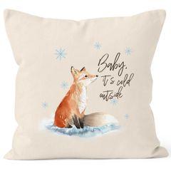 Kissenbezug Baby it`s cold outside Fuchs Winter Kissen-Hülle Weihnachten Schnee Fox Autiga®