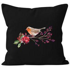 Kissenbezug Vogel Rotkehlchen Blumen Misteln Watercolor Bird Weihnachten Christmas Autiga®